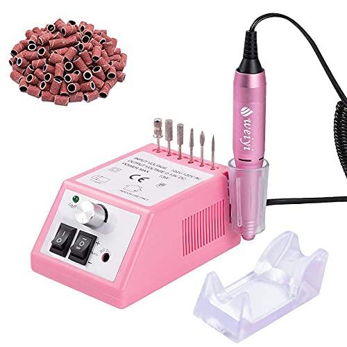 20000Giri Fresa per unghie La rettificatrice professionale elettrico di chiodo e strumenti fresa per unghie di manicure con 100 levigatura bande Rosa