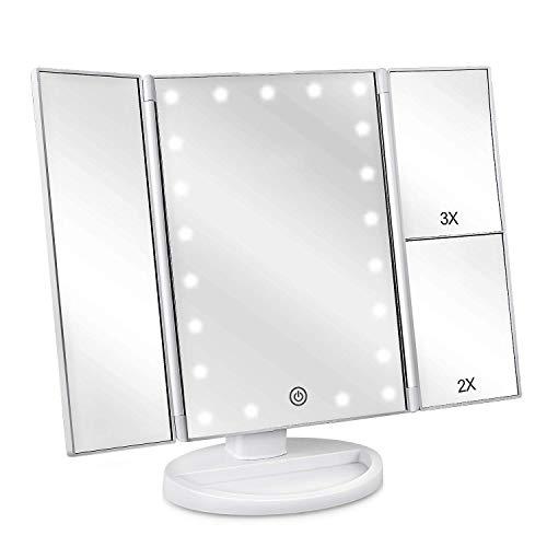 deweisn Specchio Trucco con Luci 21 LEDs, Specchio di Vanity Trifold Pieghevole Ruota di 180° Ingrandimento 1x / 2X / 3X Specchio per Il Trucco Touchscreen Dimmerabile per Cura della Pelle (Bianco)