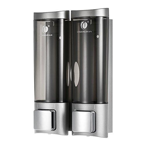 Pilvnar 200mlx2 Manuale Dispenser di Sapone, con Doppio Lato Schiuma di Montaggio a Parete, Bagno Doccia Gel Shampoo Liquido Distributore di Dispenser per Bagno Hotel
