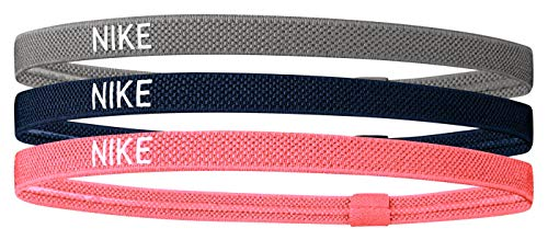 Nike Elastic Hairband, Fascia per Capelli Unisex-Adulti, Smoke Grey/Midnight Navy/Bright Mango, Taglia Unica
