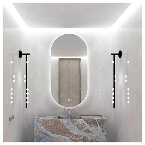JWZQ Specchio Bagno da Toeletta Retroilluminato LED, Specchio per Il Cosmetico Ovale Senza Cornice, Specchio Decorativo da Parete, Soggiorno in Camera da Letto