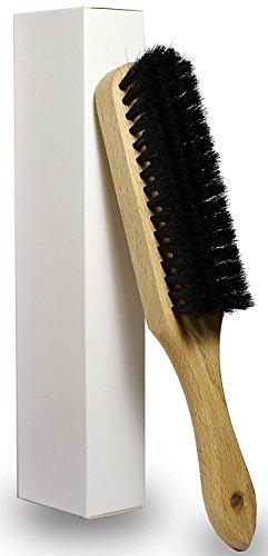 OWLMO®, pratica spazzola per vestiti in crine di cavallo, con manico e foro per appenderla, in legno di faggio con verniciatura di protezione trasparente, 25x 4cm, ecologica, confezione ecologica