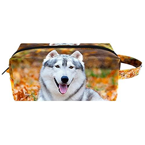 Borse da Toilette,Siberian Husky in Autumn Park ,make up borse da viaggio,Beauty Case da Viaggio,Cosmetici Trucco Pochette da Toilette Organizer