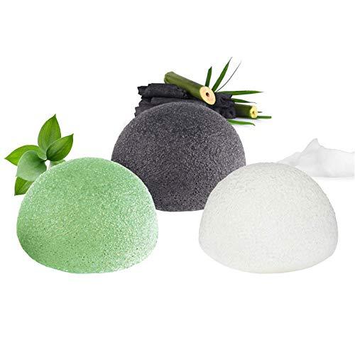 Konjac Spugna Viso,100% Naturale (Set di 3) per esfoliazione e pulizia profonda dei pori - carbone di bambù/tè verde/bianco puro, adatta per tutti i tipi di pelle e rende la pelle più morbida