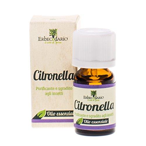 Olio Essenziale Citronella Erbecedario, Repellente Naturale Sgrato A Insetti, Zanzare, Tarme E Pidocchi. Tonico Per Stanchezza E Mal Testa, 1 Flacone Da 8ml
