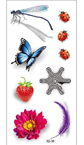 Braccio Adesivi Temporanei Tatuaggio Farfalla Coccinella Farfalla Corpo Impermeabile Nero Per Uomo Donna Festival Moda Corpo Falso Adulto 19x9cm 10pcs