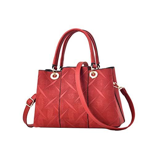 NIYUTA Donna Borsetta Borse a mano moda grande capienza Borse a spalla Borse a tracolla Borse Nero Tote IT3001 Rosso