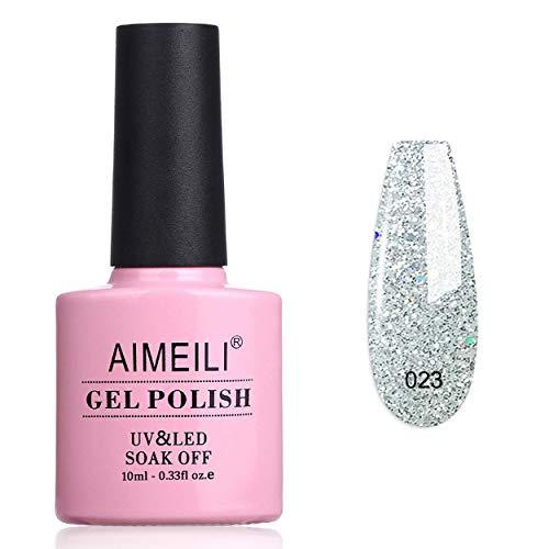 AIMEILI Smalto Semipermente in Gel UV LED per Manicure Smalti per Unghie Glitter Argento Soak Off Silver Glitter 10ml