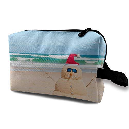 Portable Travel Cosmetic Bag Summer Australia Beach Snowman Lady Makeup Travel Toiletry Storage Bag