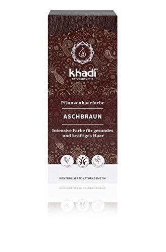 KHADI - Tinta Vegetale in Polvere Castano Cenere - 100% Naturale - Per tutti i tipi di capelli - Rinforzante e Nutriente - Certificato BDIH - Vegan - 100 gr