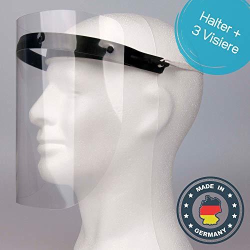 Mascherina di protezione per il viso in plastica, 1 supporto con 3 pellicole intercambiabili, Maschera protettiva con visiera, 2001-11