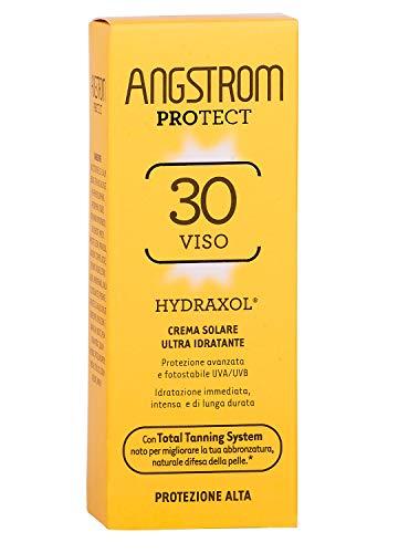 ANGSTROM Protect Crema Solare Viso SPF 30, Stimola la Produzione di Melanina con il Total Tanning System, con Filtri Solari UVA/UVB, Molto Resistente all'Acqua, Dermatogicamente Testato, 50 ml