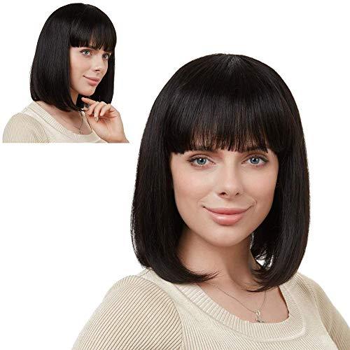 Ealicere Parrucca da donna Bob dritta e resistente al calore di capelli veri 1 pezzi Nero