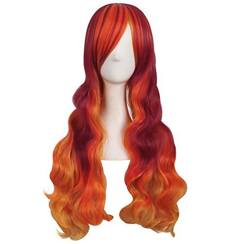 MapofBeauty 28 Pollic/70cm Ladies Cosplay Ricci Lunghe Scoppi Obliqui Parrucche (Fluorescente Arancione/Blood Rosso/Arancione Giallo)