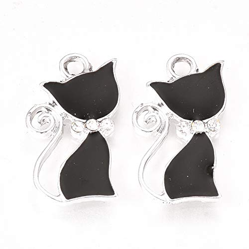 10 ciondoli smaltati a forma di gatto in metallo placcato platino, 24 x 14 mm, per braccialetti fai da te, collane, portachiavi, gioielli