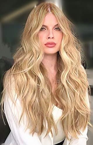 parrucca donna bionda lunga 24inch parrucca bambina realistica onde capelli no lace front wig parrucca riccia bionda blonde wig(#613)