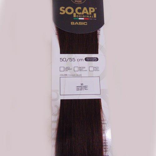 Extension con cheratina Capello 100% Naturale- 50/55cm So.Cap Original, 33 Castano Chiaro Mogano