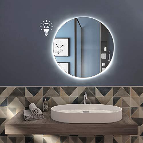 styleglass Specchio Bagno Tondo PERSONALIZZABILE Retroilluminato a Led RUBLO, Diamentro 60 cm, Specchio Parete ,Spessore Vetro 3mm, Kit Fissaggio Murale Incluso, Grado di Protezione IP20