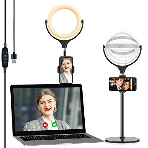Yoozon Luce Tik Tok LED Anello Fotografico da Scrivania,Ring Light 3 Colori e 10 Luminosita` Regolabile,Controllo Wireless e Altezza Regolabile,Supporto per Telefono per Selfie,Video,Trucco