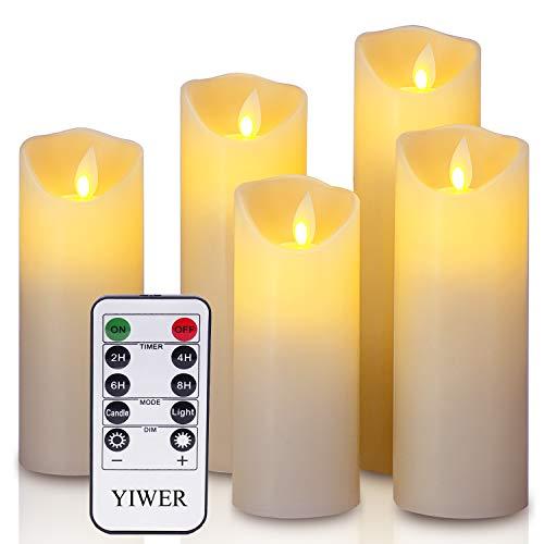 LED Candele Flameless Φ 5.5CM x H 12CM/15CM/17CM/20CM/22CM Set di 5 celle reali non in plastica telecomando a 10 tasti con 2/4/6/8 ore Funzione di timer 200 oreYIWER (5x1, Avorio)