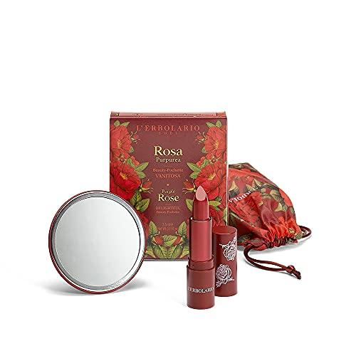 L'Erbolario ROSA PURPUREA Beauty Pochette Vanitosa – Edizione Limitata Rossetto Effetto Seta 3,5 ml e Specchietto