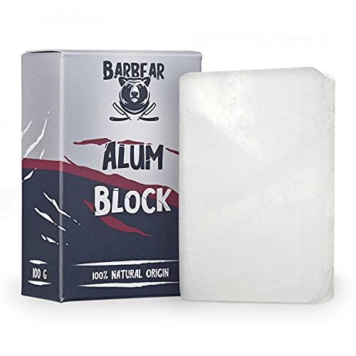 Barbear   Allume di Rocca   Formato Gigante 100g   100% Naturale   Dopobarba Neutro   Ideale come Alternativa al Deodorante   Tagliata a mano   Effetto Lenitivo sulla Pelle