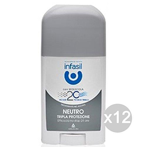 Set 12 INFASIL Deodorante Stick Tripla Protez.Neutro Bianco Cura E Igiene Del Corpo