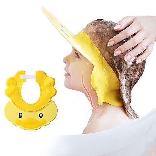 Cuffia da doccia per bambini, shampoo per il lavaggio dei capelli, per occhi, orecchie e viso, visiera regolabile in silicone, protezione dell'acqua per bambini, con simpatica anatra gialla