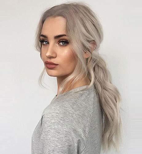 Vébonnie, Parrucca di capelli sintetici ondulati dall'aspetto realistico, con radici scure effetto ombré, colore: biondo platino, con riga in mezzo, lunghezza: 55,9 cm