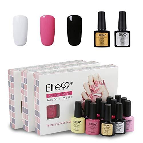 Elite99 Smalto Semipermente per Unghie in Gel UV LED 5pzs Smalto per unghie Colori con Base Coat Top Coat Lucido Kit per Manicure Smalti Gel per Unghie Soak Off - S5001