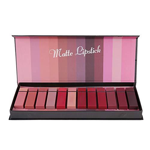 12 colori rossetto tubo quadrato, sexy rossetto opaco, colore zucca/colore mattone rosso opaco/arancione sporco
