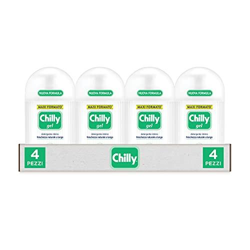 Chilly Detergente Intimo Fresco, Detergente per l'Igiene Intima con Molecola Antiodore, Formula Fresca con Mentolo Naturale, PH 5, Clinicamente Testato, Confezione da 4 Flaconi da 300 ml