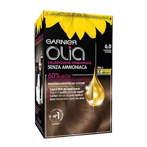 Garnier Colorazione Permanente Olia, senza Ammoniaca, con Oli di Fiori di Origine Naturale, Castano Chiaro, 6.0