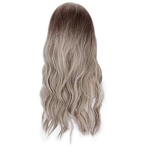 Parrucca lunga ondulata marrone sfumata Parrucca sintetica alla moda per donna Lady Cosplay Party per Cosplay per feste giornaliere