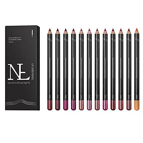 Ingzy 12 PCS Lipstick Pen Lip Liner Pencil Set, Waterproof Long Lasting Matte Lipstick Lip Pen Makeup Lipstick Pencil Beauty Lips Kit