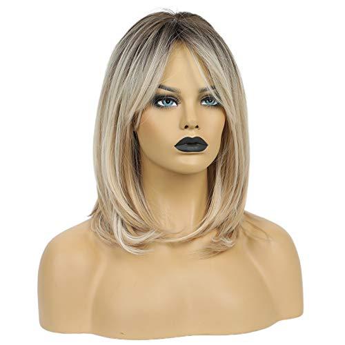 HAIRCUBE Parrucche Lunghe Bionde Per Donna Parrucca Sintetica Per Capelli Con Frangia Colore Ombre Con Radici Scure