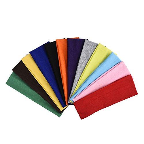12 Pezzi Fascia Capelli Cerchietti Capelli Allungare Elastici Yoga Cotone Colori Misti per Adolescenti, Ragazze e Donne