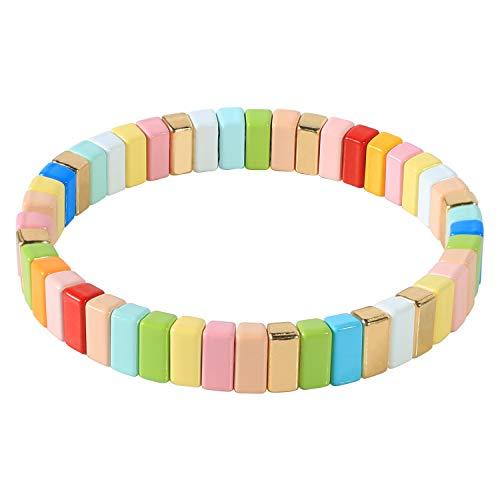 Kanyee Rainbow Candy Colors Tila Bracciale Elasticizzato Gioielli Compleanno Festa di Natale Regalo per Bambine Teen Kids