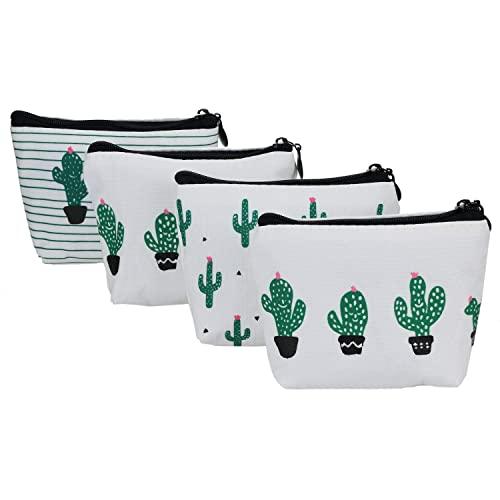 YOUSHARES 4 Confezioni Coin Purse - Mini Cactus Style Canvas Cash Bag Portafogli Key Case Makeup Piccola Borsa Cosmetica