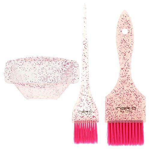 Minkissy Spazzola di Della Tintura E Ciotola Set Professionale Dei Dye Kit Salon Kit di Colorazione Dei Tintura Tinta Tool (Rosa)