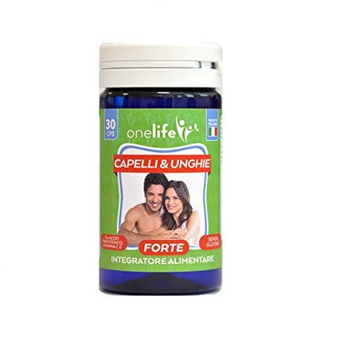 Capelli & Unghie Forte | Onelife | Integratore Naturale per la Crescita dei Capelli, Forza e Resistenza delle Unghie, con Estratto di Miglio, Sali Minerali e Vitamina C, 30 Capsule