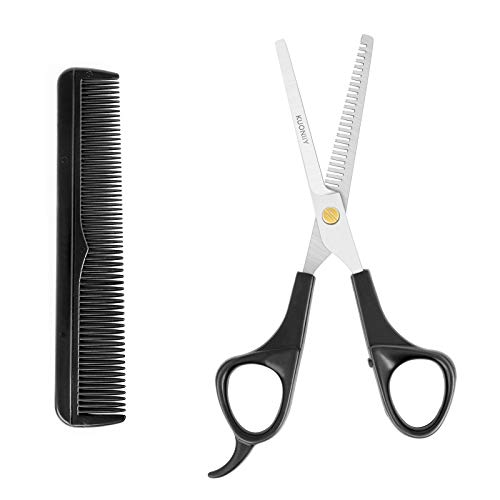 KUONIIY forbici dentate, forbici seghettate in Acciaio Inox, Kit di Forbici Professionali per forbici parrucchiere, Include forbice per sfoltire i capelli e Pettine, per Barbiere e Casa, 6,5 Pollici