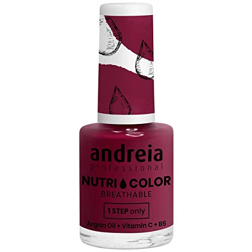 Andreia Professional NutriColor - Smalto Vegan traspirante - Colore NC23 Pink Bordeaux - 10.5ml
