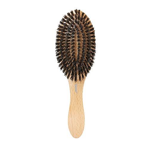 KSN Sanel Spazzola in legno con setole di cinghiale naturali per tutti i tipi di capelli, spazzola per districare i capelli e districare i capelli, spazzola per capelli, per donne, uomini e bambini