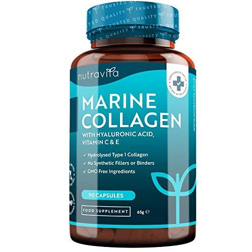 Collagene con Acido Ialuronico - Premium Collagene Marino Marino Idrolizzato con Vitamina C, E e Zinco - 1000mg di Collagene per dose - 90 Capsule - Prodotto nel Regno Unito da Nutravita