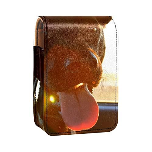Porta rossetto Mini porta rossetto Light Sun Shink Car Driving Dog Animal Borsa organizer con specchio per borsetta porta cosmetici da viaggio
