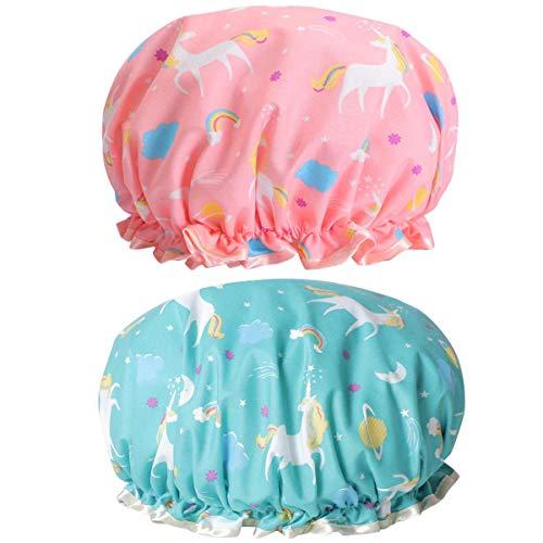 Cuffia da doccia da donna con unicorni, riutilizzabile, impermeabile, a doppio strato, per proteggere i capelli, in plastica EVA, con fascia elastica in pizzo