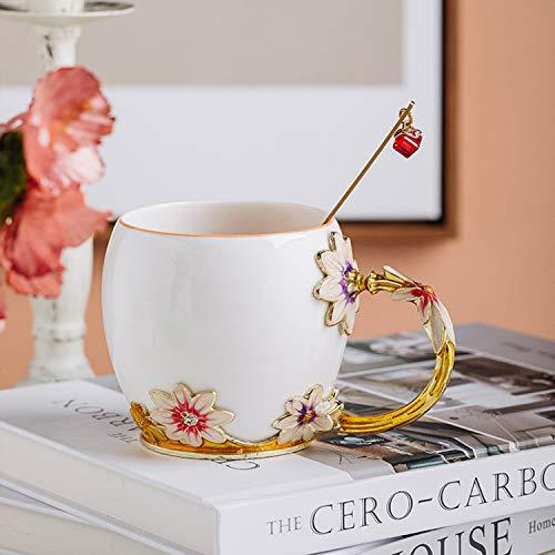 YIUN Fiore tazza di tè, tazza di caffè, smalto artigianale tazza di ceramica, tazza, tazza dello smalto con il cucchiaio, tazza di corsa con il bello fiore maniglia, Crisantemo, 320ML.