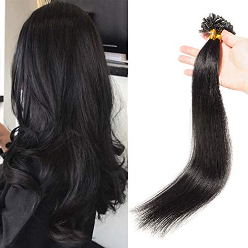 (40-60cm) Cheratina Extension Capelli Veri 100 Ciocche #1 Nero Lucente 50g U Tip Extension Keratina Capelli Naturali Lughi 40cm Remy Hair Extension