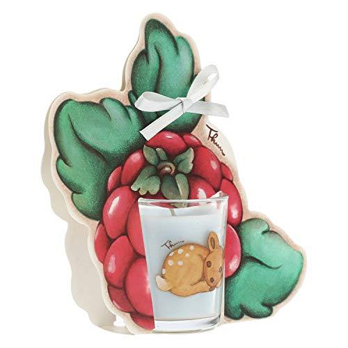 THUN ® - Candela con Lampone - Linea Frutti Rossi - Vaniglia - 65 g Cera e Oli Essenziali - Bicchierino ø 5,5 cm - 6 cm h